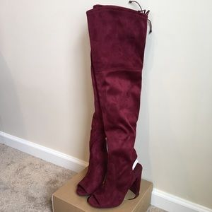 NWT Burgundy Over the Knee Peep Toe Heel Boots